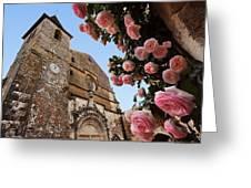 Church And Roses Greeting Card