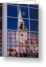 Church In Cafe Window Greeting Card