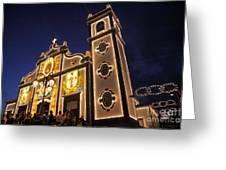 Church Lighting At Night Greeting Card