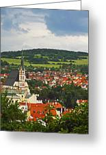 Church Spire In The Old Town Cesky Greeting Card