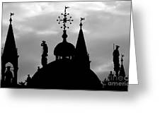 Church Spires Silhouetted Bw Greeting Card