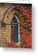 Church Window Autumn Greeting Card