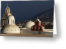 Churches In Fira Greece Greeting Card