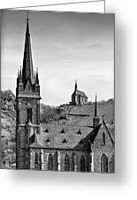 Churches Of Lorchhausen Bw Greeting Card