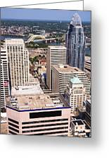 Cincinnati Aerial Skyline Downtown City Buildings Greeting Card