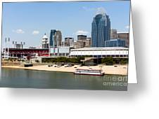 Cincinnati Ohio Skyline And Riverfront Greeting Card