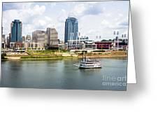 Cincinnati Skyline With Riverboat Photo Greeting Card