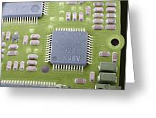 Circuit Board Microchip, Sem Greeting Card by Steve Gschmeissner