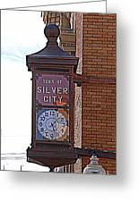 City Clock In Silver City Nm Greeting Card
