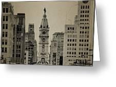 City Hall From North Broad Street Philadelphia Greeting Card