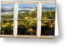 City Lights White Rustic Picture Window Frame Photo Art View Greeting Card