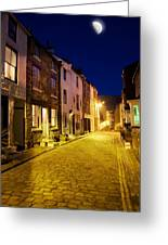 City Street At Night, Staithes Greeting Card