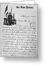 Civil War: Letter, 1862 Greeting Card