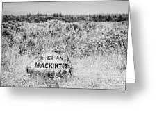 clan mackintosh memorial stone on Culloden moor battlefield site highlands scotland Greeting Card