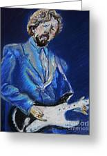 Clapton Jams Blue Greeting Card by Emily Michaud