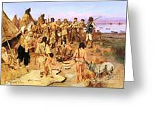 Clark Meets Northwest Indians Greeting Card