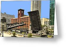 Clark Street Bridge Chicago - A Contrast In Time Greeting Card by Christine Till