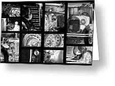 Classic Car Collage In Black And White Greeting Card