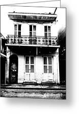 Classic French Quarter Residence New Orleans Black And White Conte Crayon Digital Art Greeting Card