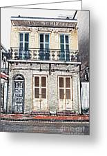 Classic French Quarter Residence New Orleans Colored Pencil Digital Art Greeting Card