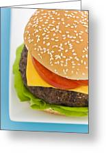 Classic Hamburger With Cheese Tomato And Salad Greeting Card