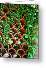 Clay Pattern Wall With Vines Greeting Card