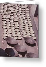 Clay Yogurt Cups Drying In The Sun Greeting Card