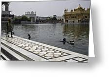 Clearing The Sarovar Inside The Golden Temple Resorvoir Greeting Card