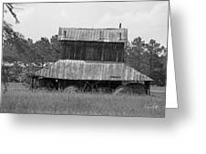 Clewis Family Tobacco Barn II In Black And White Greeting Card