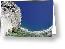 Cliff And Beach At Crater Lake Greeting Card