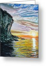 Cliff Sunset Greeting Card by Peter Jackson