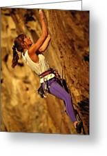 Climber Heidi Badaracco Leads A Route Greeting Card