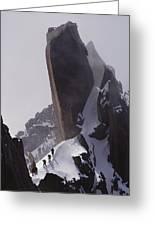 Climbers Move Carefully Across Steep Greeting Card