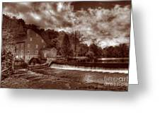 Clinton Red Mill House Sepia Greeting Card
