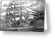 Clipper In The Storm Filtered Greeting Card
