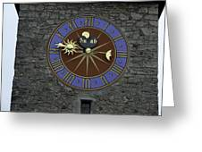 Clocktower In Lucerne On A Stone Tower Greeting Card