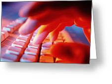 Close-up Of A Person Typing On A Computer Keyboard Greeting Card