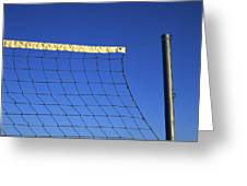 Close-up Of A Volleyball Net Abandoned. Greeting Card by Bernard Jaubert