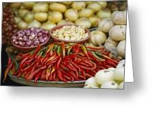 Close View Of Chili Peppers And Other Greeting Card