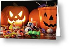Closeup Of Candies With Pumpkins  Greeting Card