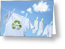 Clothes Drying On Clothesline With Go Green Sign  Greeting Card by Sandra Cunningham