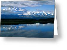 Cloud-enshrouded Mt. Mckinley Reflected Greeting Card