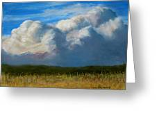 Clouds Over The Meadow Greeting Card by Jack Skinner