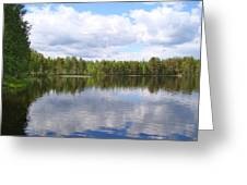 Clouds Trees And Water Greeting Card