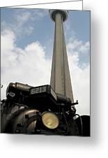 Cn Tower And Train Greeting Card