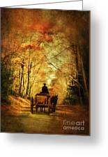Coach On A Road In Autumn Greeting Card