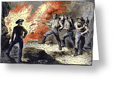 Coal Mine Fire, 19th Century Greeting Card