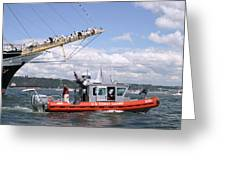 Coast Guard With Tall Ships Greeting Card