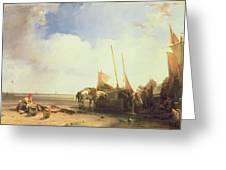 Coastal Scene In Picardy Greeting Card by Richard Parkes Bonington