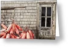 Coastal Shanty And Buoys. Greeting Card